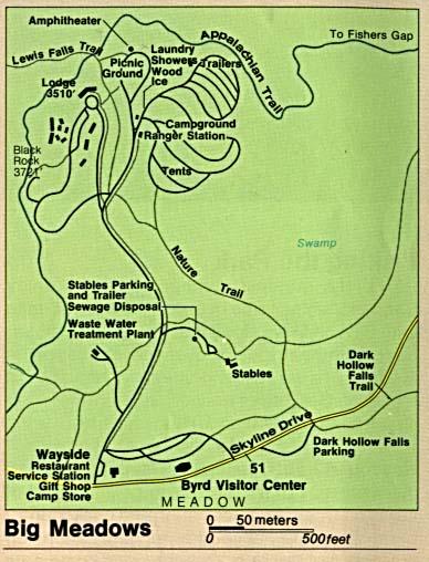 Mapa Detallado de Big Meadows, Parque Nacional Shenandoah, Virginia, Estados Unidos