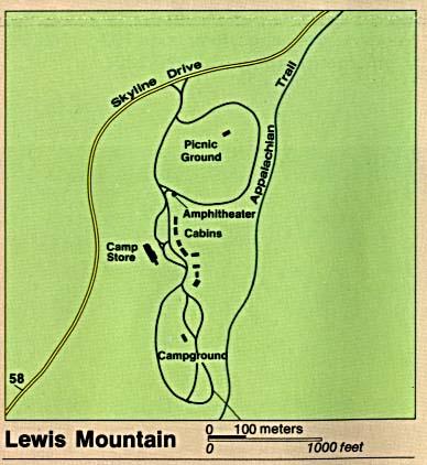 Mapa Detallado de Lewis Mountain, Parque Nacional Shenandoah, Virginia, Estados Unidos