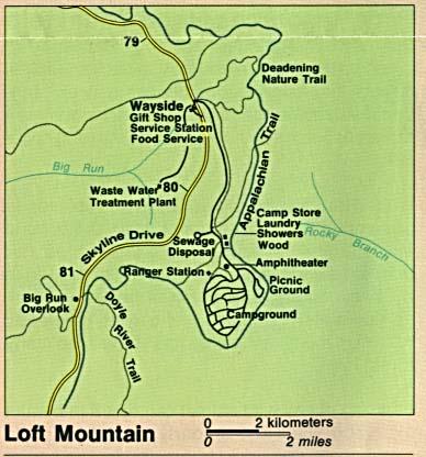 Mapa Detallado de Loft Mountain, Parque Nacional Shenandoah, Virginia, Estados Unidos