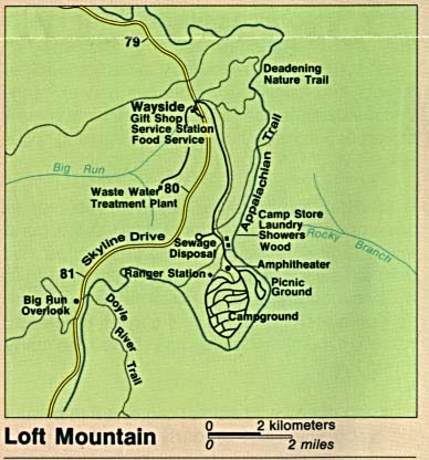 Loft Mountain Detail Map, Shenandoah National Park, Virginia, United States
