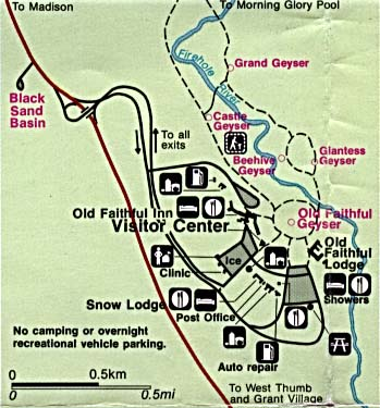 Yellowstone National Park Old Faithful Detail Map, Wyoming, Montana, Idaho, United States