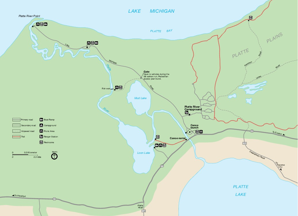 Mapa Detallado de Platte River, Ribera de lago Nacional Sleeping Bear Dunes, Michigan, Estados Unidos