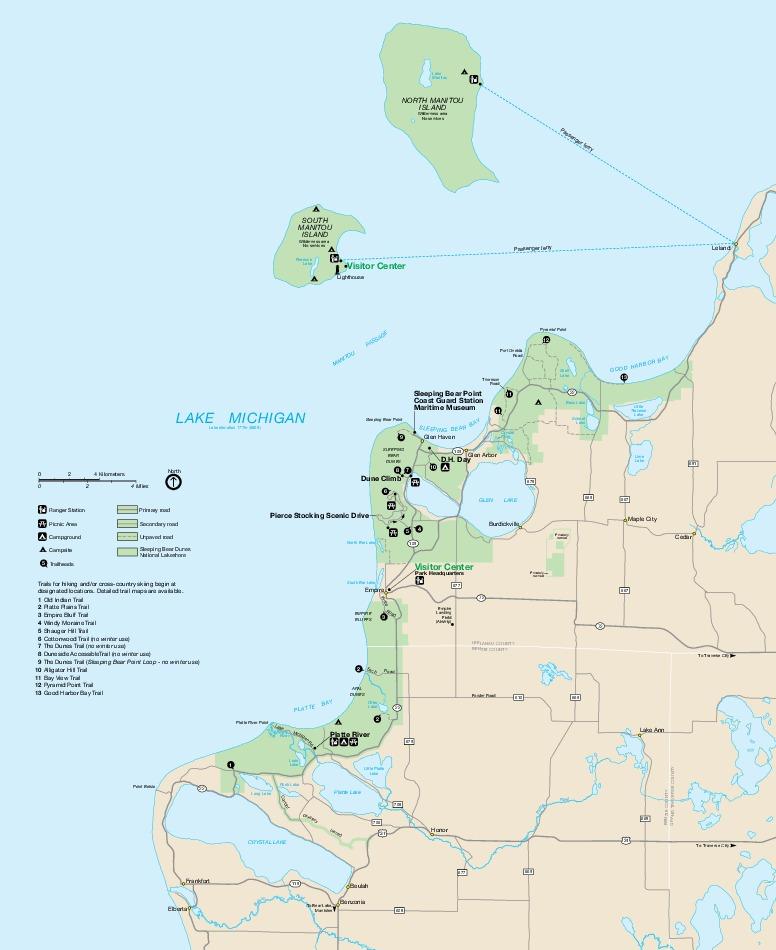 Wayside Exhibits Map, Sleeping Bear Dunes National Lakeshore, Michigan, United States