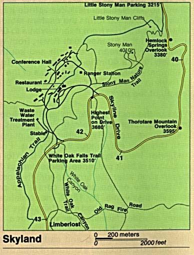 Mapa Detallado de Skyland, Parque Nacional Shenandoah, Virginia, Estados Unidos