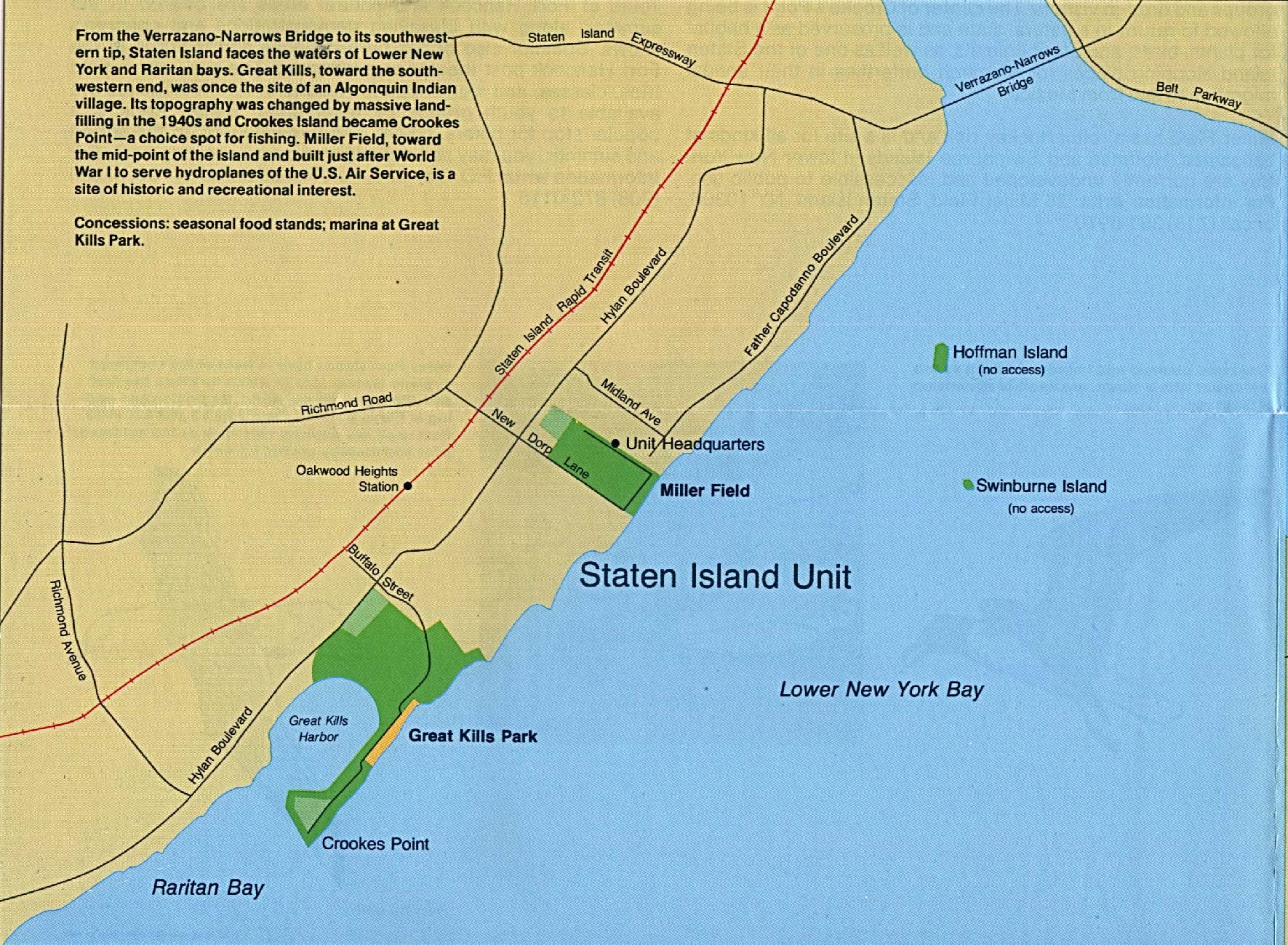Detail Map of Staten Island, Gateway National Recreation, New York and New Jersey, United States