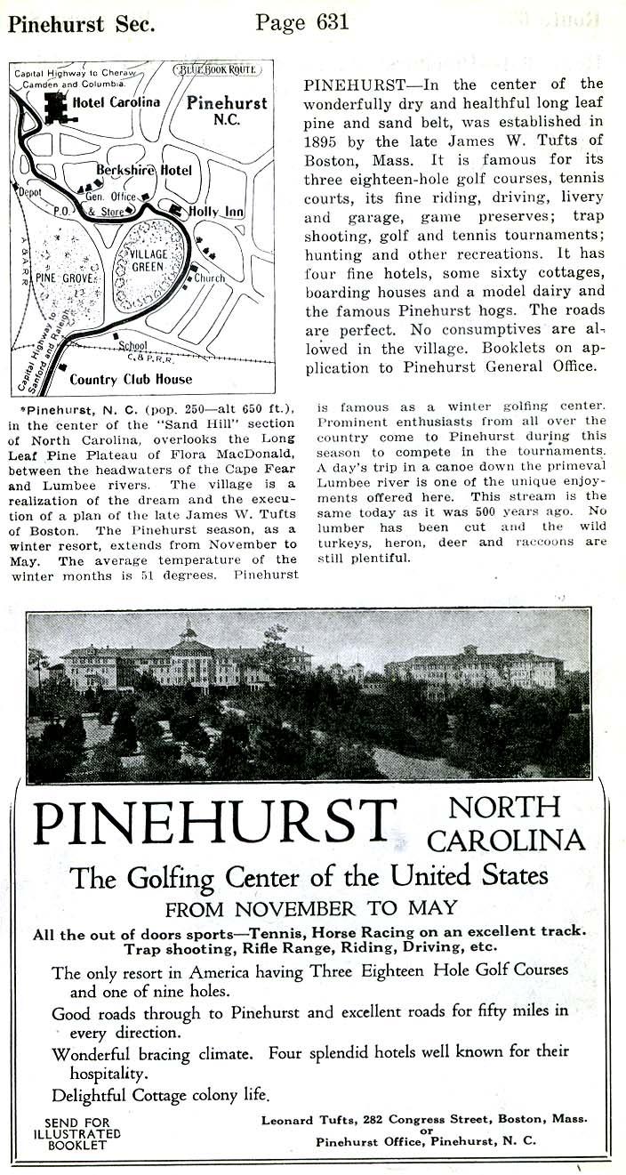 Pinehurst Detail City Map, North Carolina, United States 1919