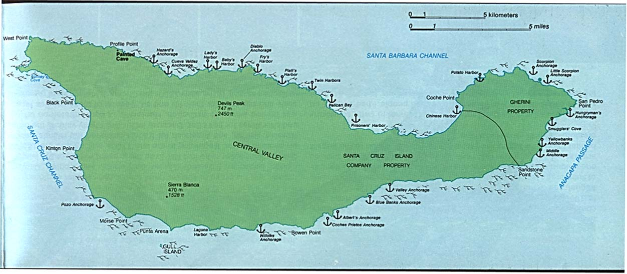 Mapa Detallado de la Isla Santa Cruz, Parque Nacional Channel Islands, California, Estados Unidos