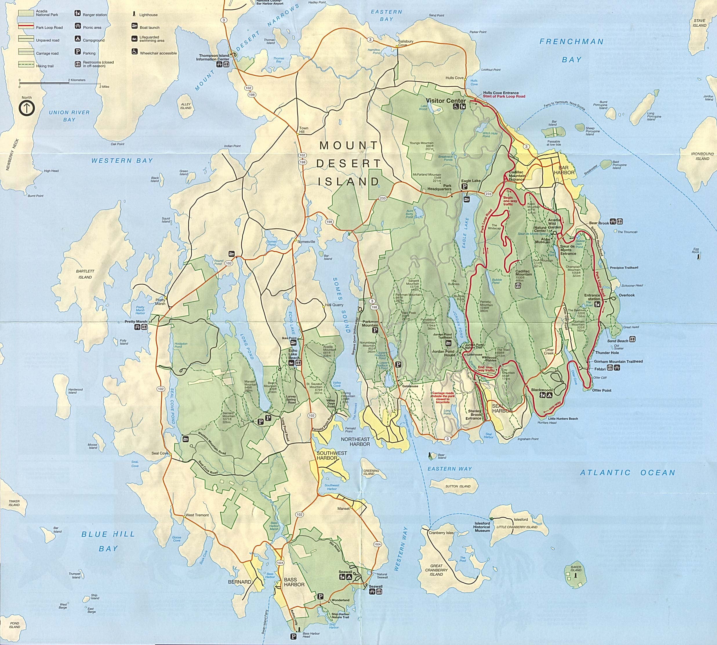 Mount Desert Island Detail Map, Maine, United States
