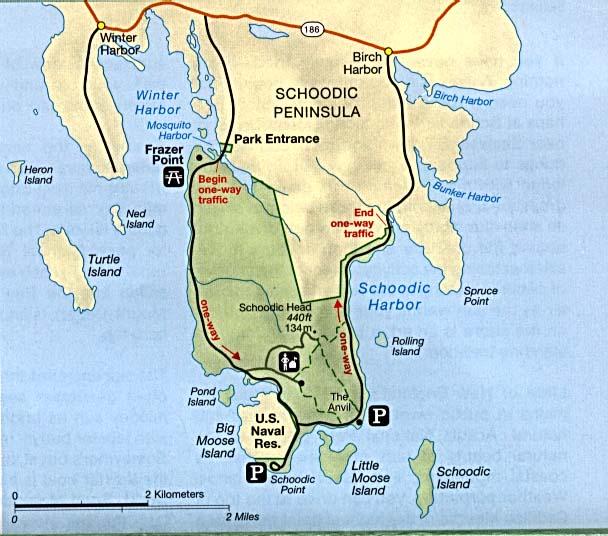 Mapa Detallado de la Península de Schoodic, Maine, Estados Unidos
