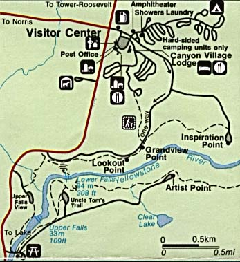 Yellowstone National Park Canyon Village Detail Map, Wyoming, Montana, Idaho, United States
