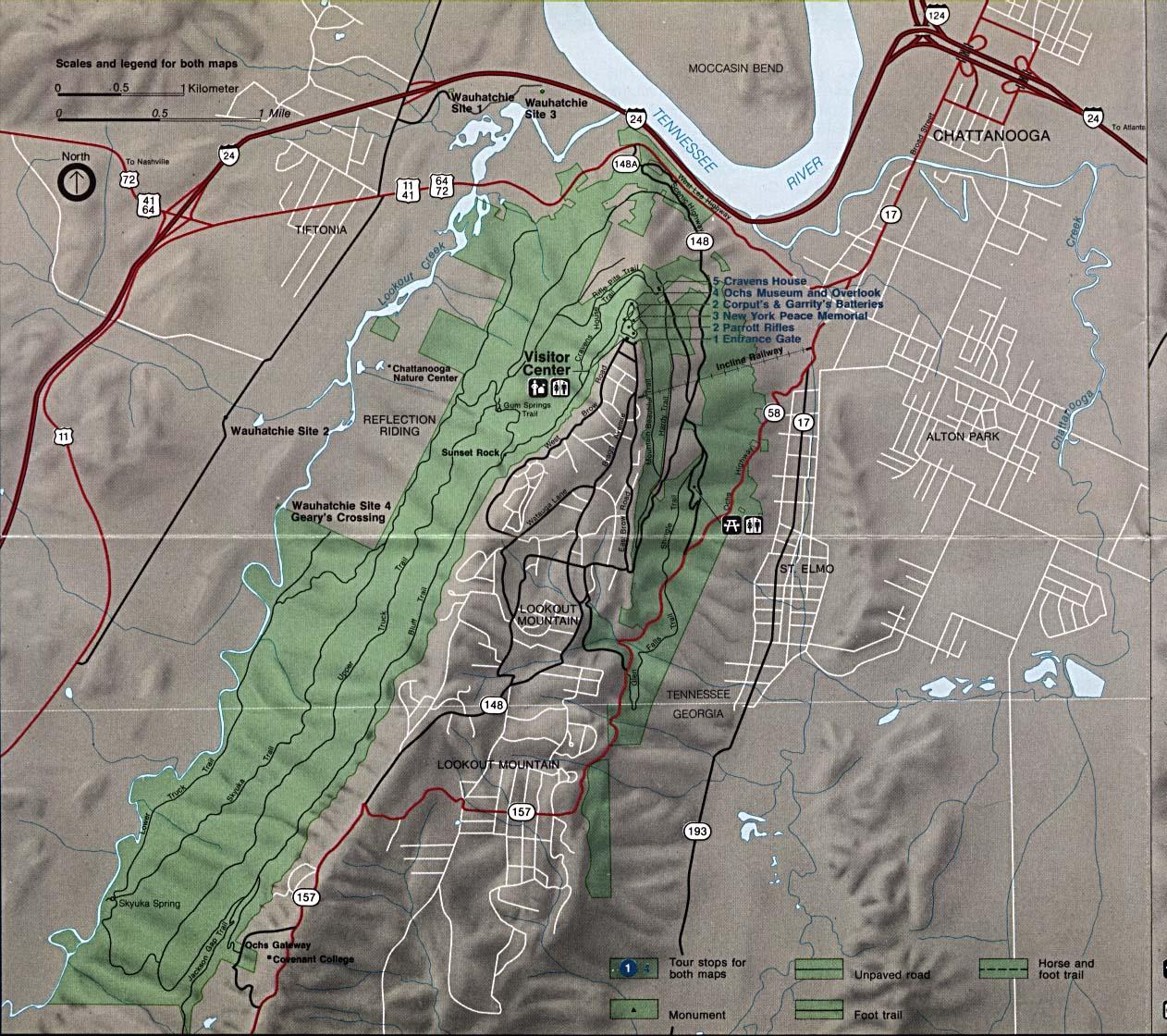 Mapa Detallado del Parque Militar Nacional de Chickamauga y Chattanooga, Georgia y Tennessee