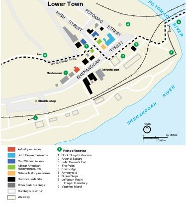 Mapa Detallado del Parque Nacional Histórico Harpers Ferry, Virginia Occidental, Estados Unidos