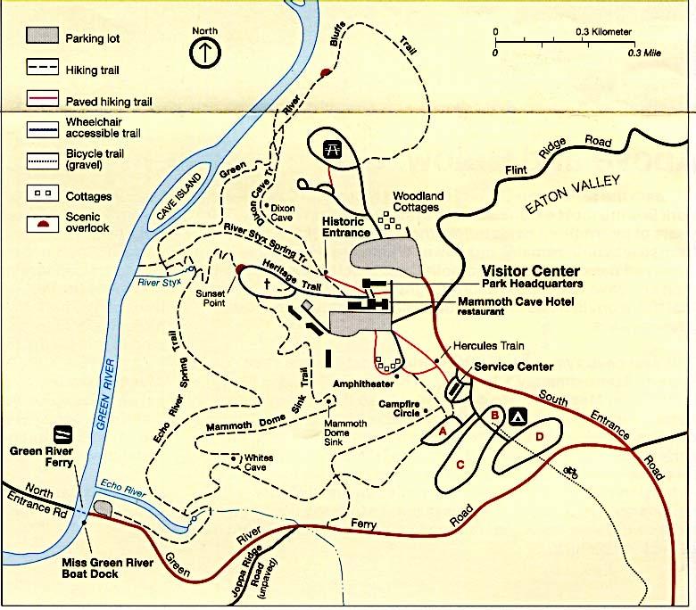 Mapa Detallado del Parque Nacional Mammoth Cave, Kentucky, Estados Unidos