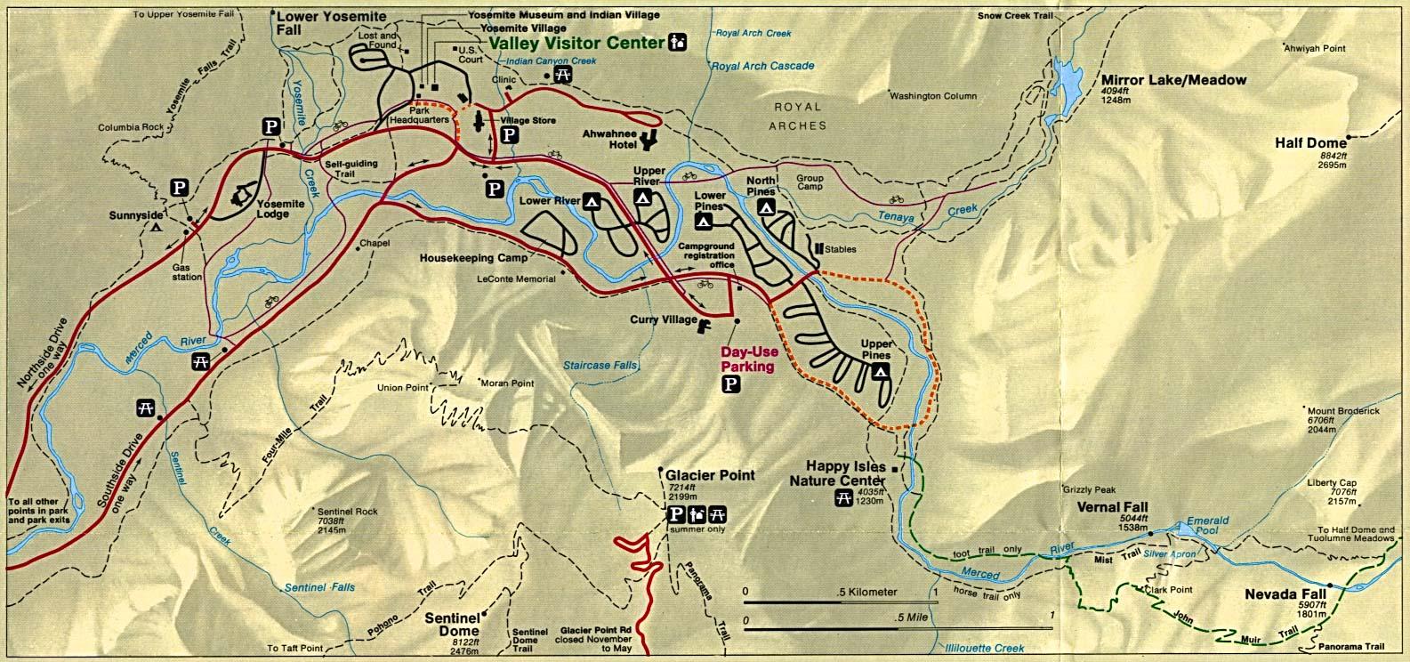 Detail Map of Yosemite National Park, California, United States