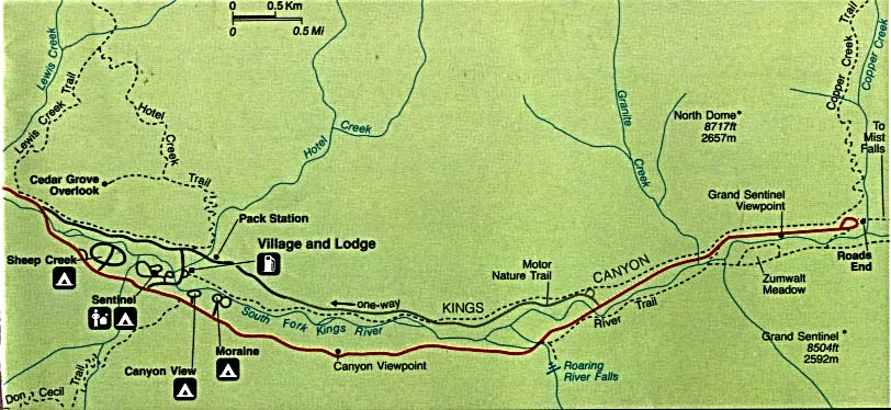 Detail Map of Park Cedar Grove Area, Sequoia and Kings Canyon National, California, United States