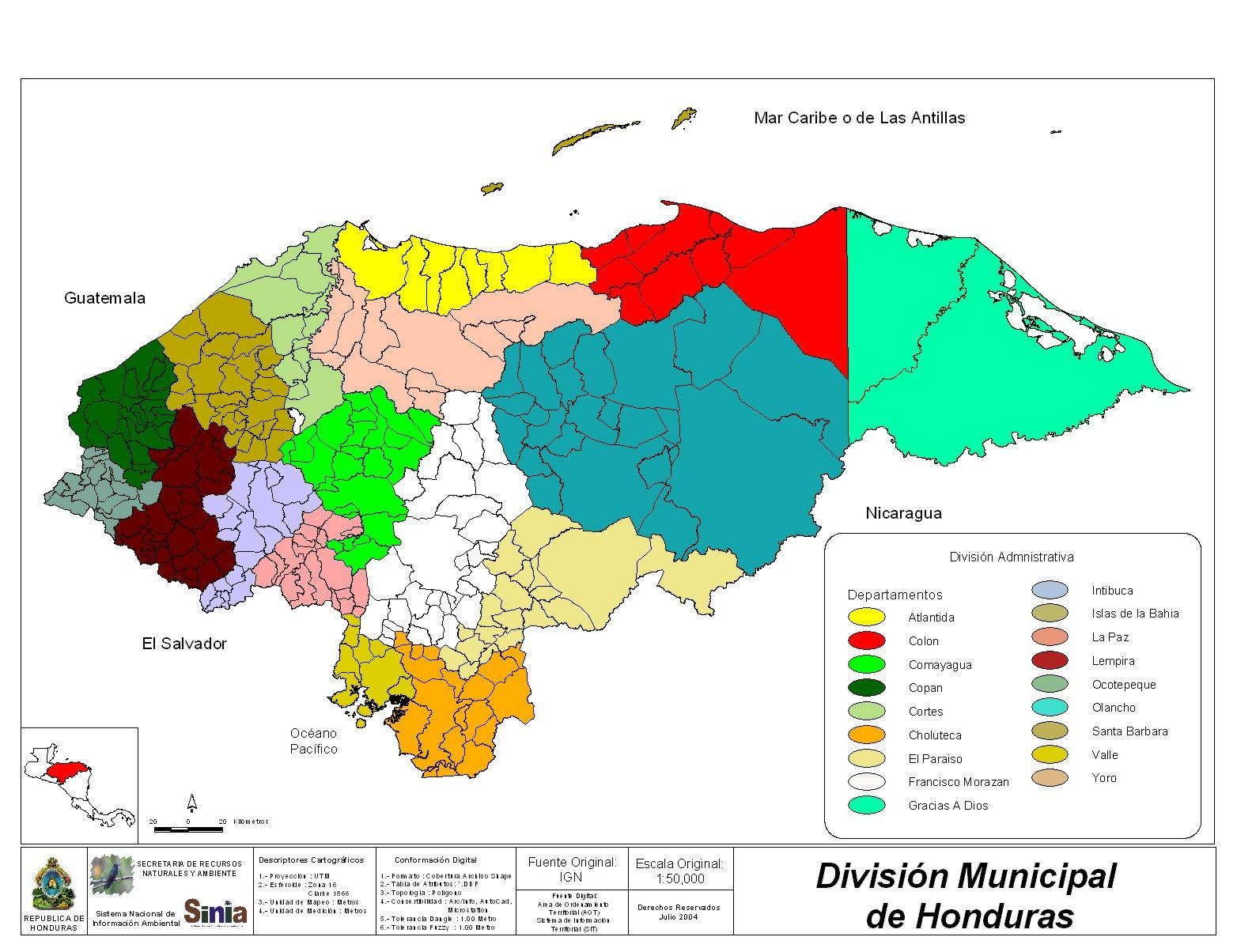 Mapa División Municipal, Honduras