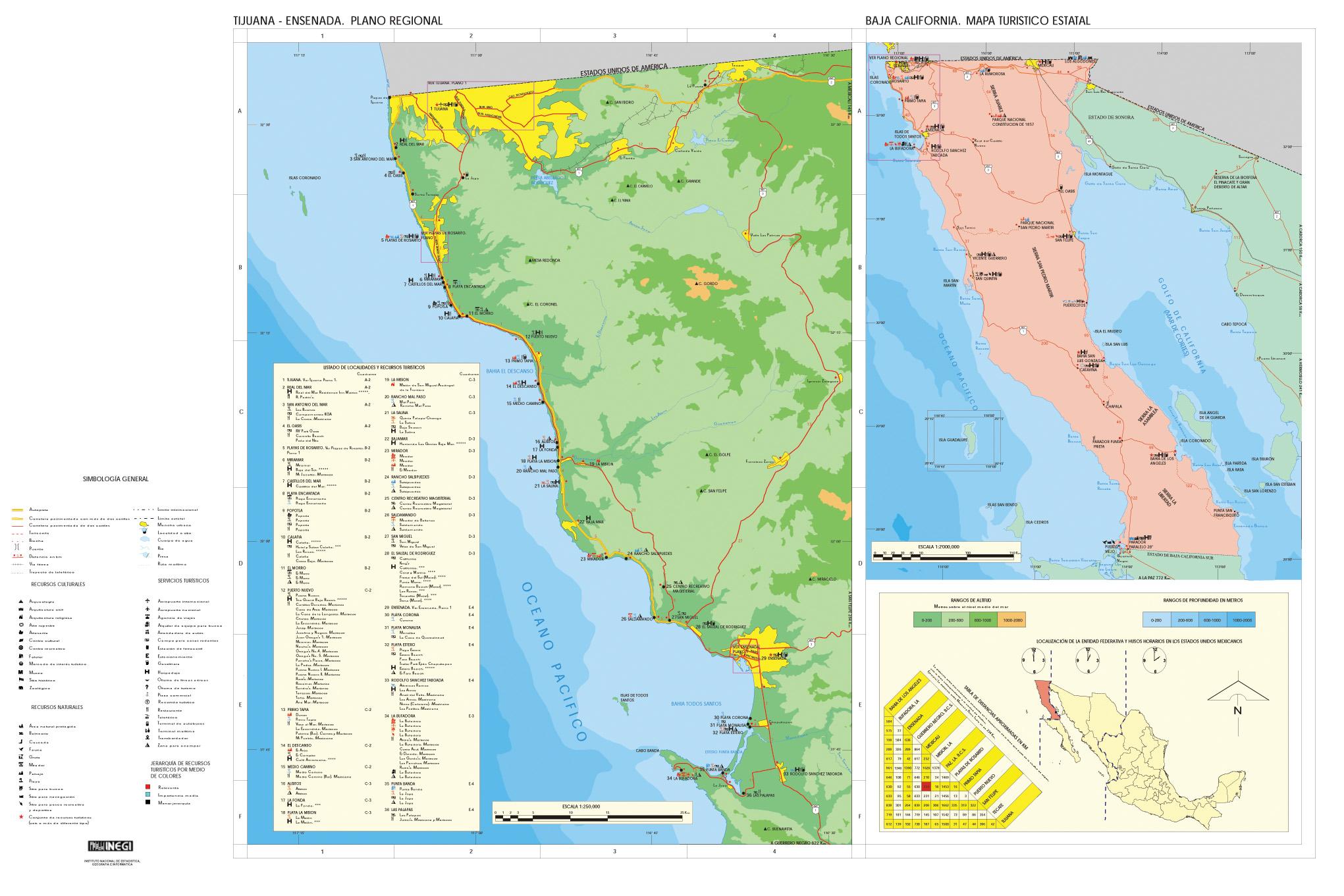 Mapa Ensenada, Tijuana (plano Regional), Baja California, Mexico