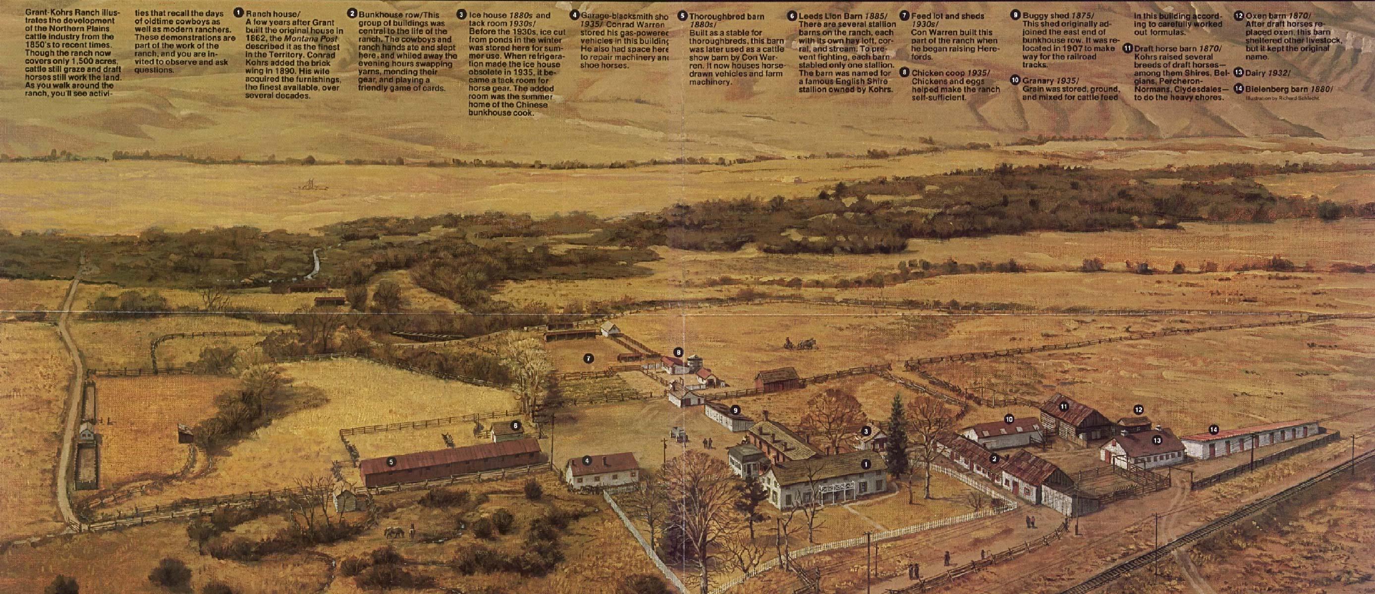 Mapa-Esquema Sitio Histórico Grant-Kohrs Ranch National, Montana, Estados Unidos