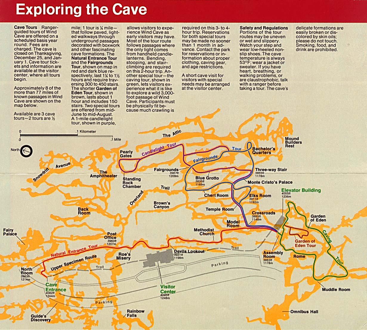 Mapa Esquema de las Cuevas, Parque Nacional Wind Cave, Dakota del Sur, Estados Unidos