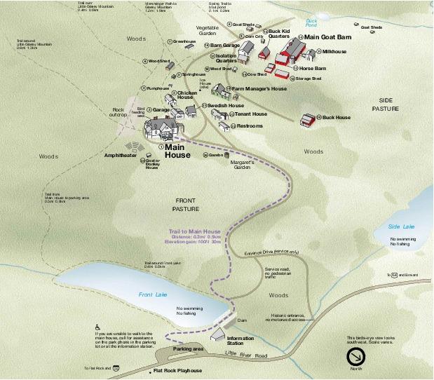 Schematic Map of Carl Sandburg Home National Historic Site, North Carolina, United States