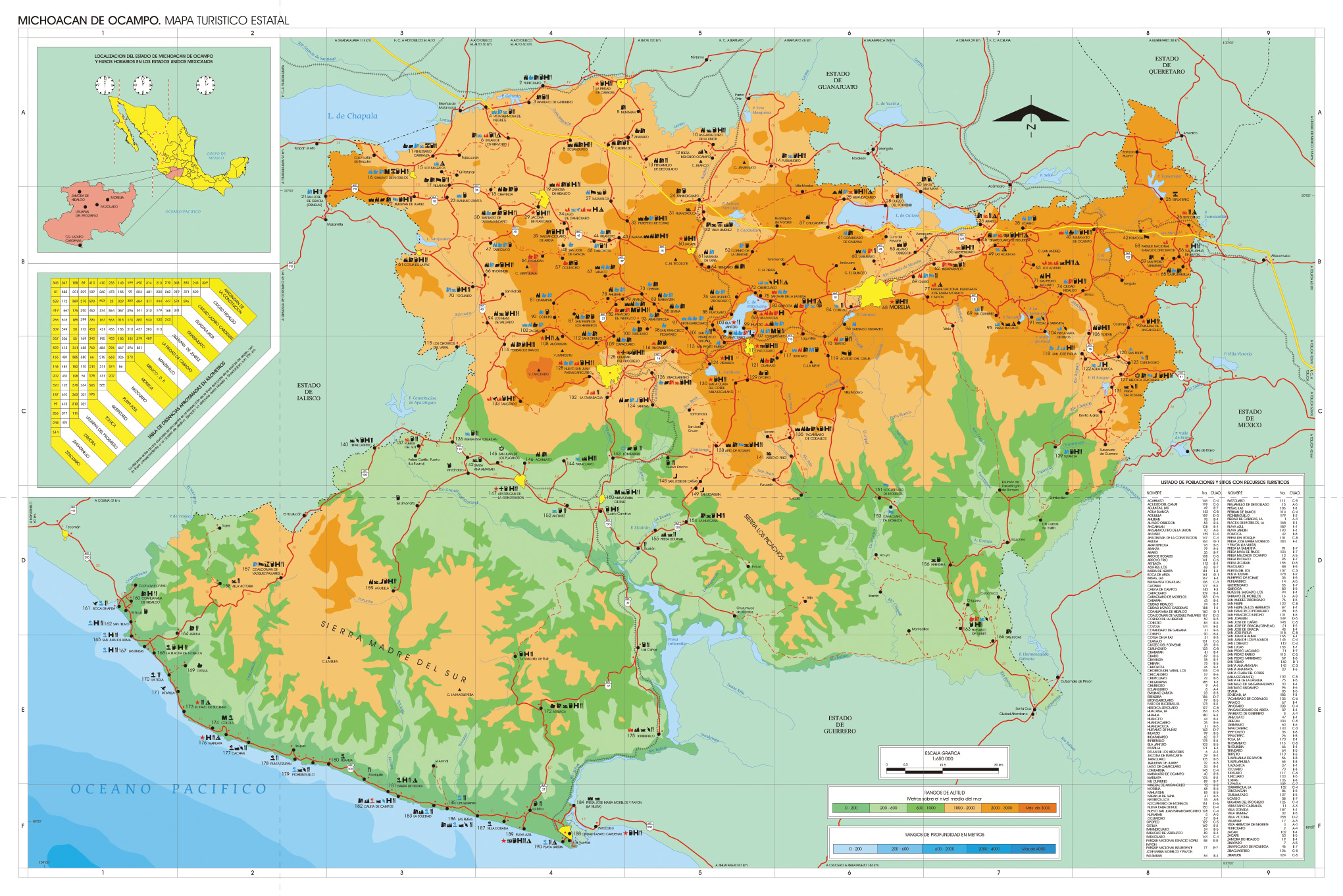 Mapa Estado de Michoacan, Mexico