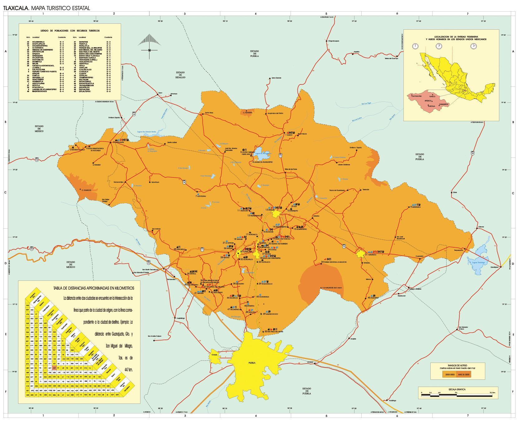Mapa Estado de Tlaxcala, Mexico