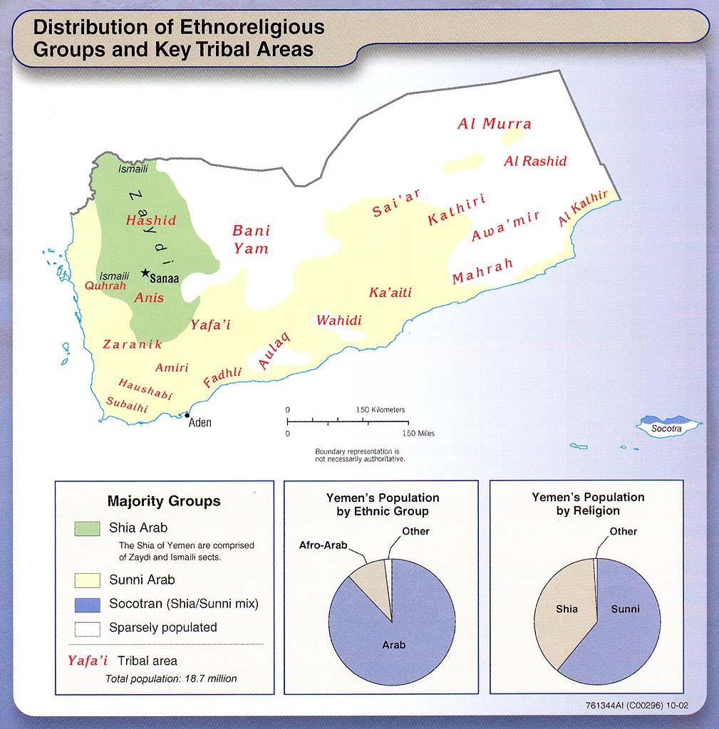Mapa Etno-Religioso y de los Gupos Tribales de Yemen