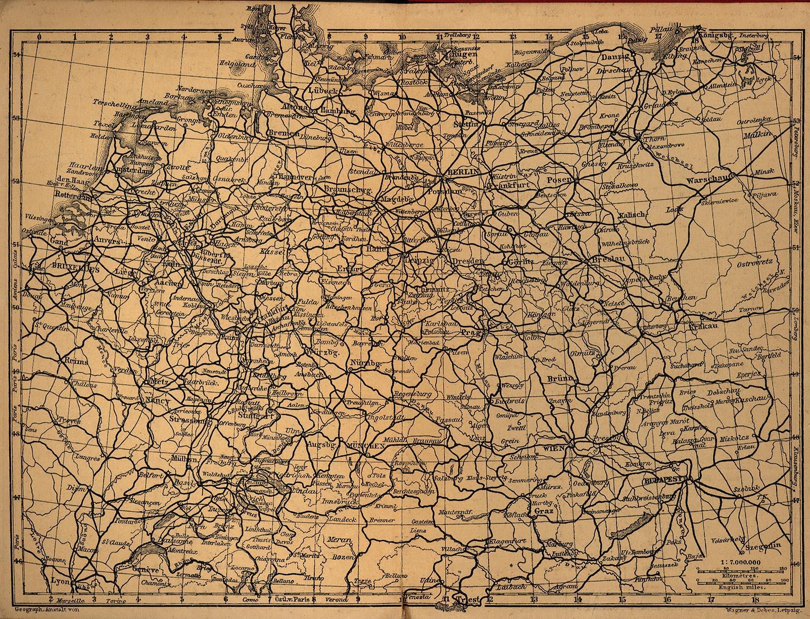 Mapa Ferroviario de Alemania 1910