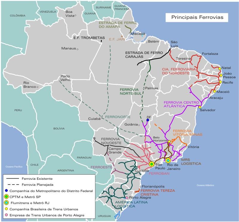 Mapa Ferroviario de Brasil