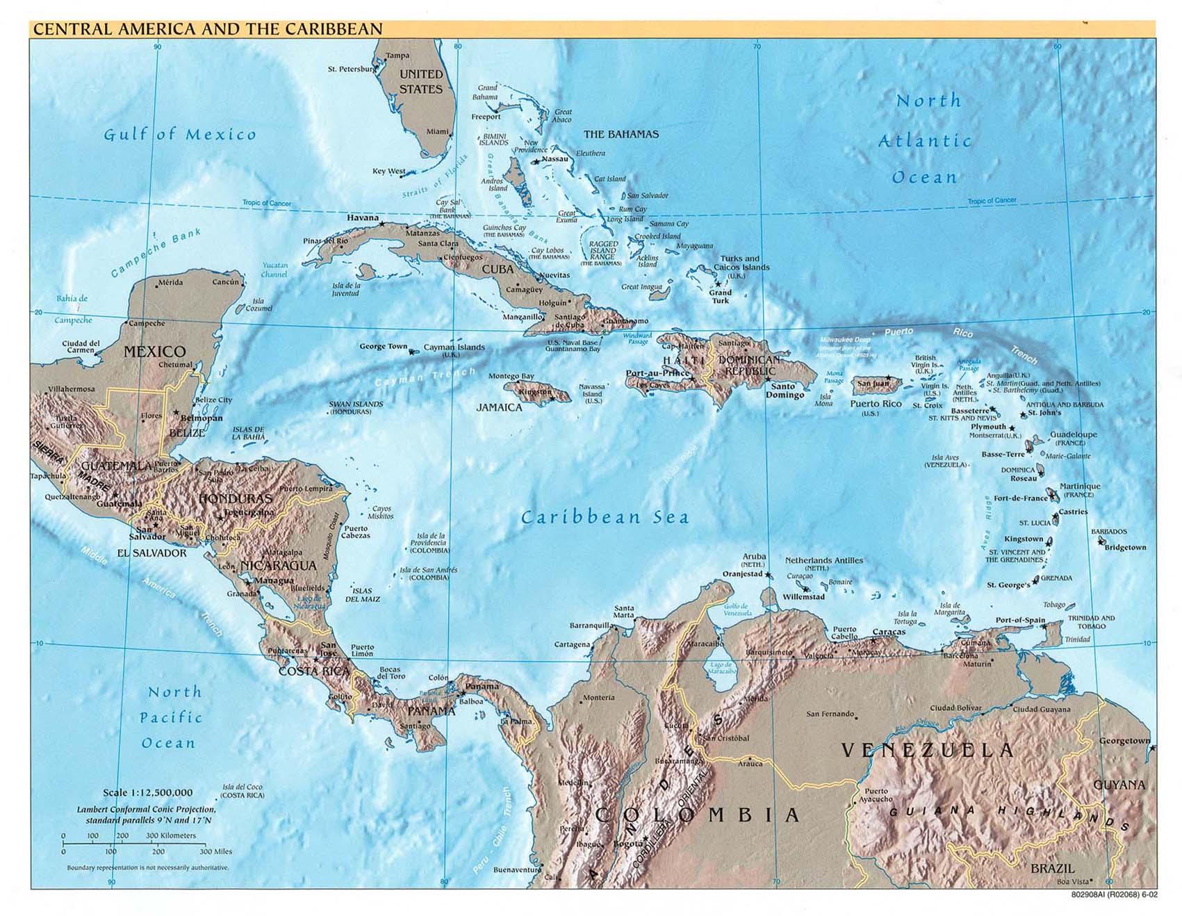 Mapa Físico de América Central y del Caribe 2002