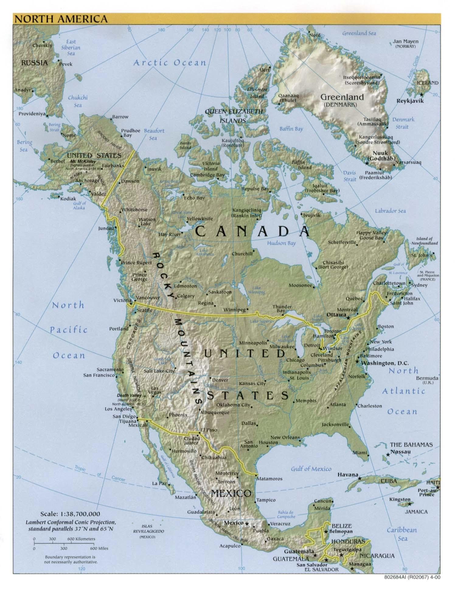 Mapa Físico de América del Norte 2000