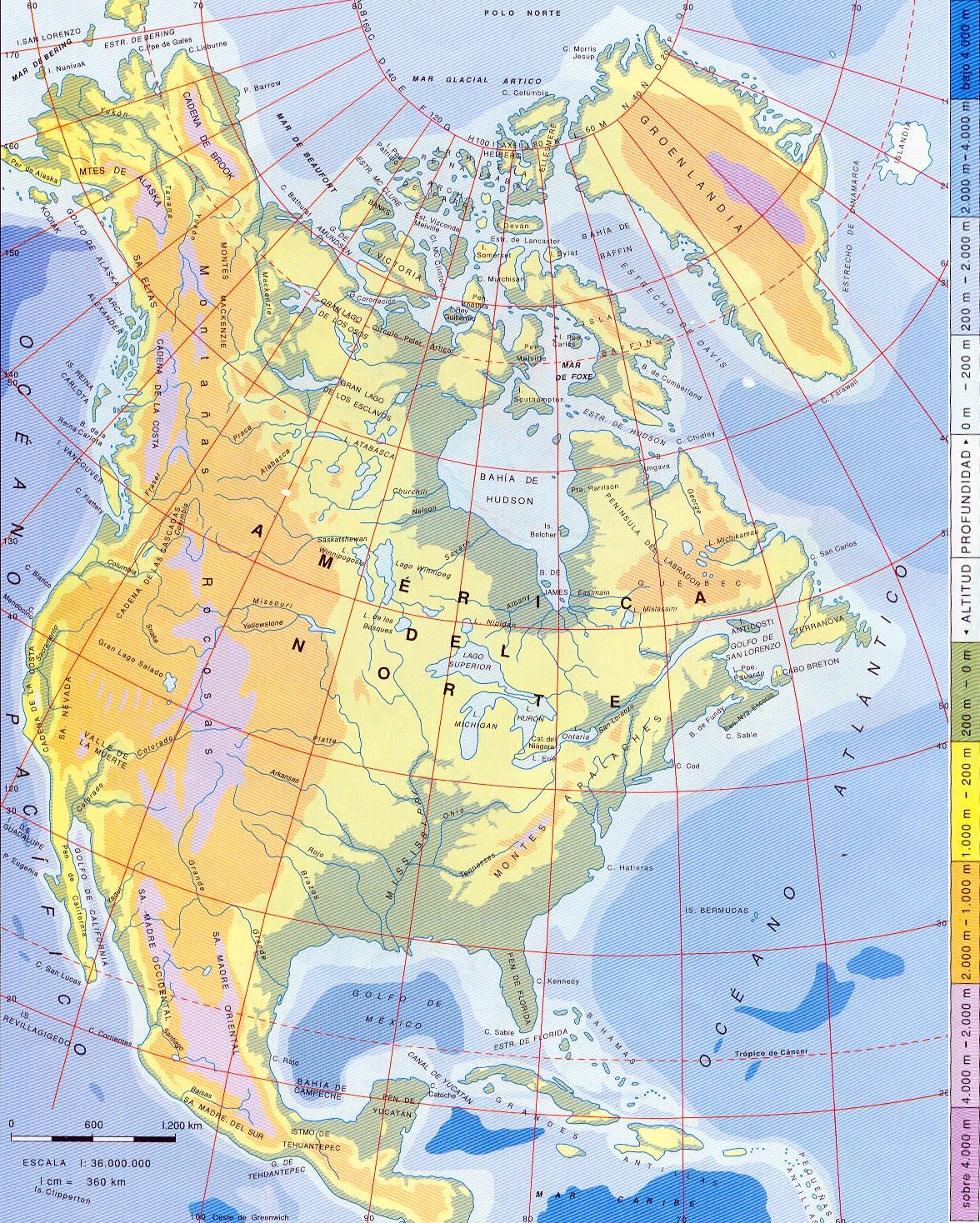 Mapa Físico de América del Norte