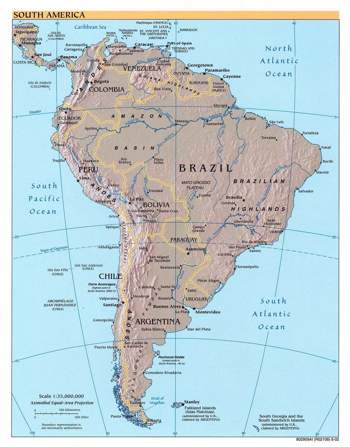 South America physical map 2002