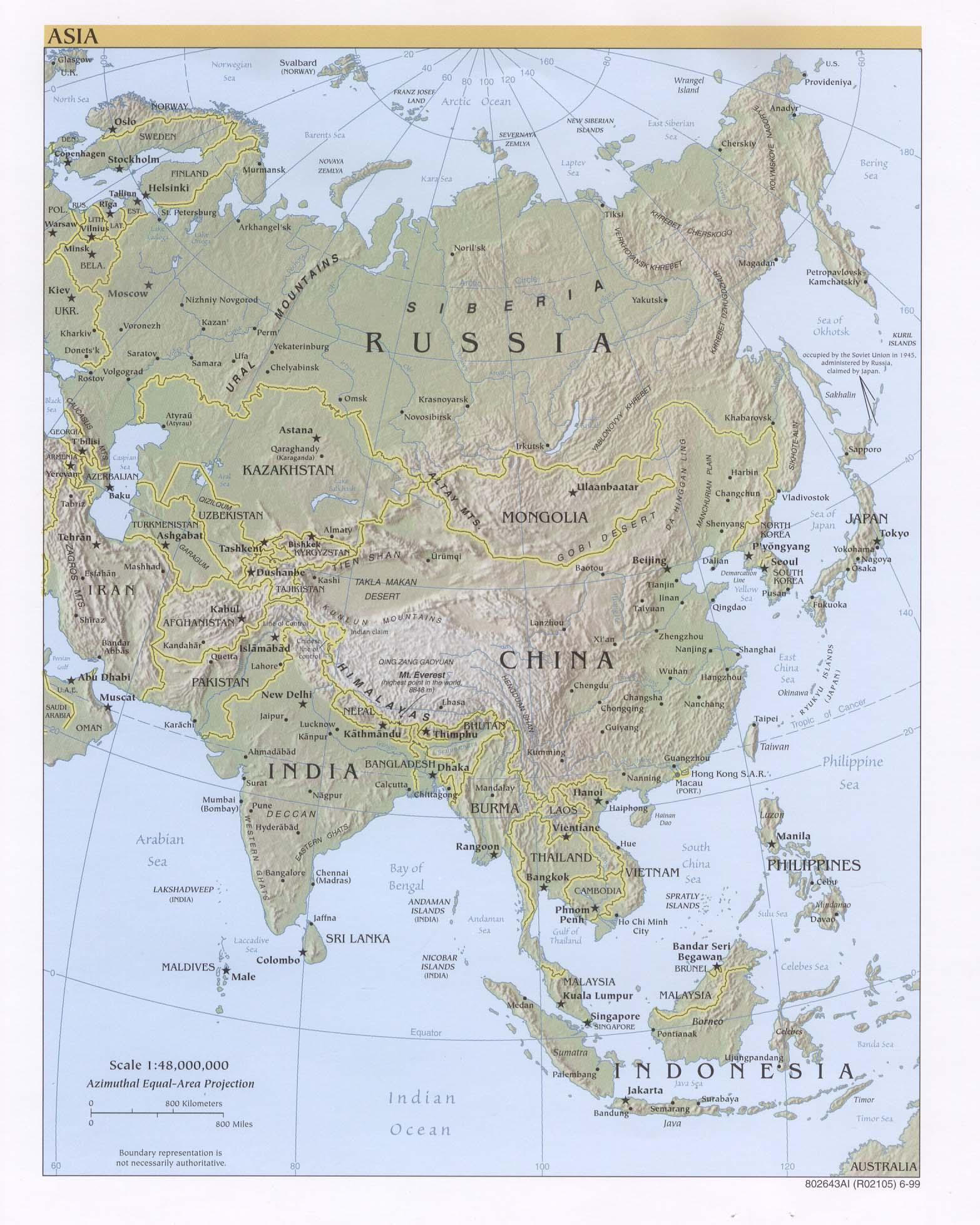 Mapa Físico de Asia 1999