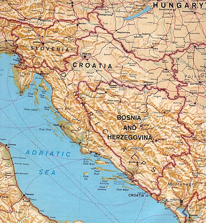 Mapa Físico de Eslovenia, Croacia, Bosnia y Herzegovina