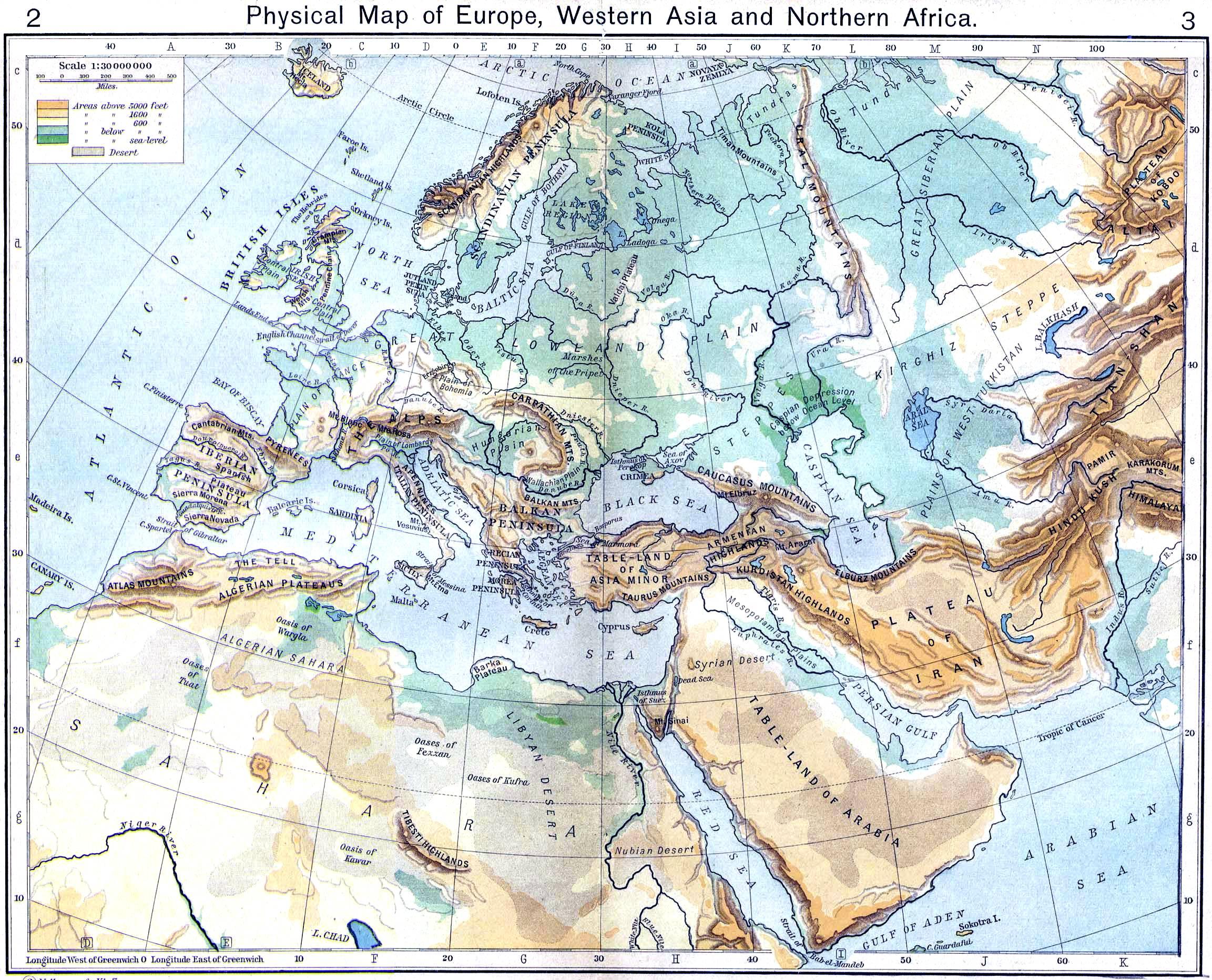 Mapa Físico de Europa, Asia occidental y África del Norte