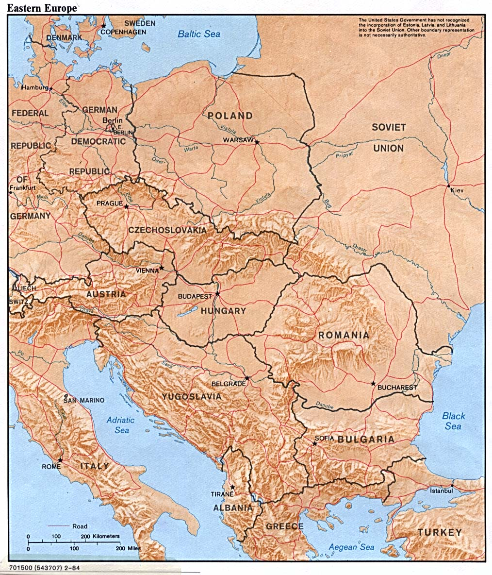 Eastern Europe physical map 1984