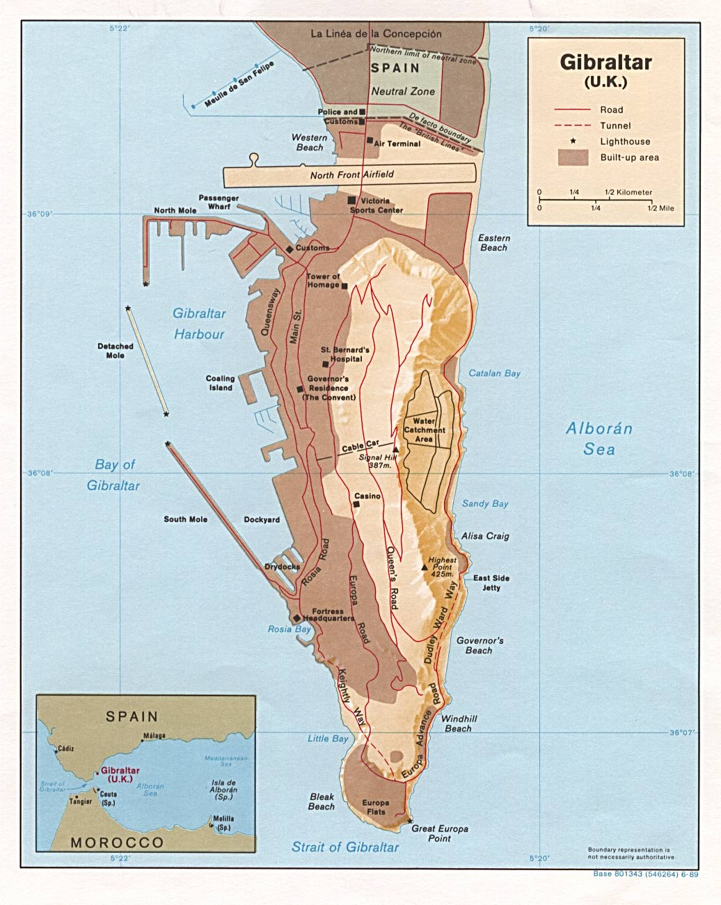 Mapa Físico de Gibraltar