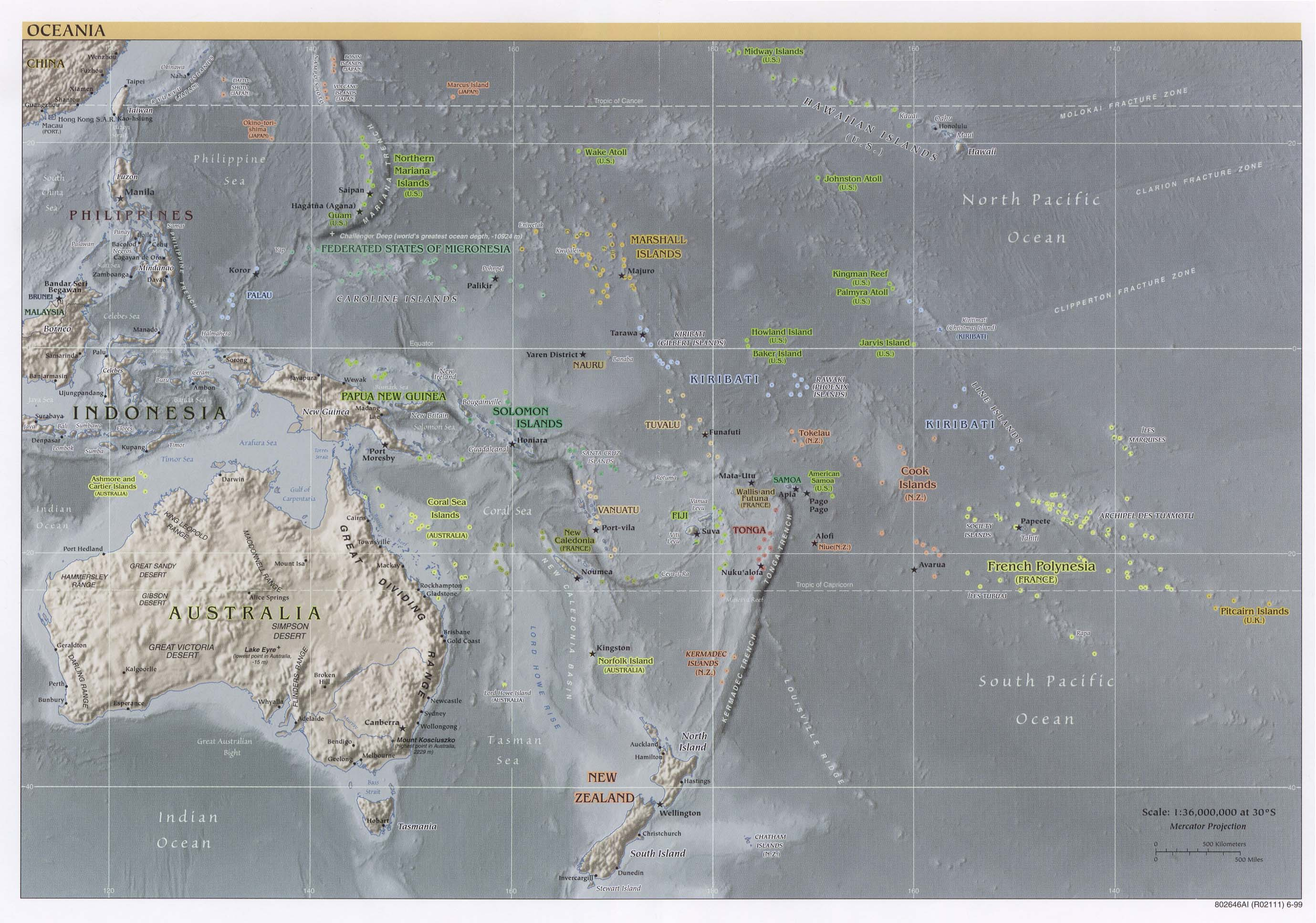 Oceania physical map 1999