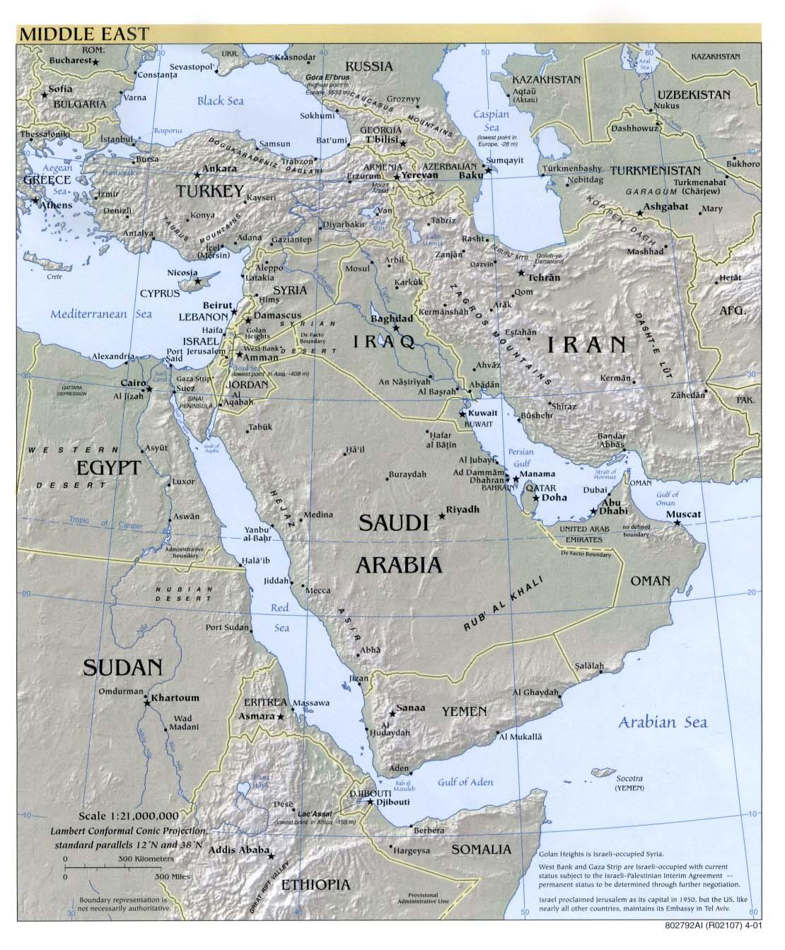Mapa Físico de Oriente Medio 2001