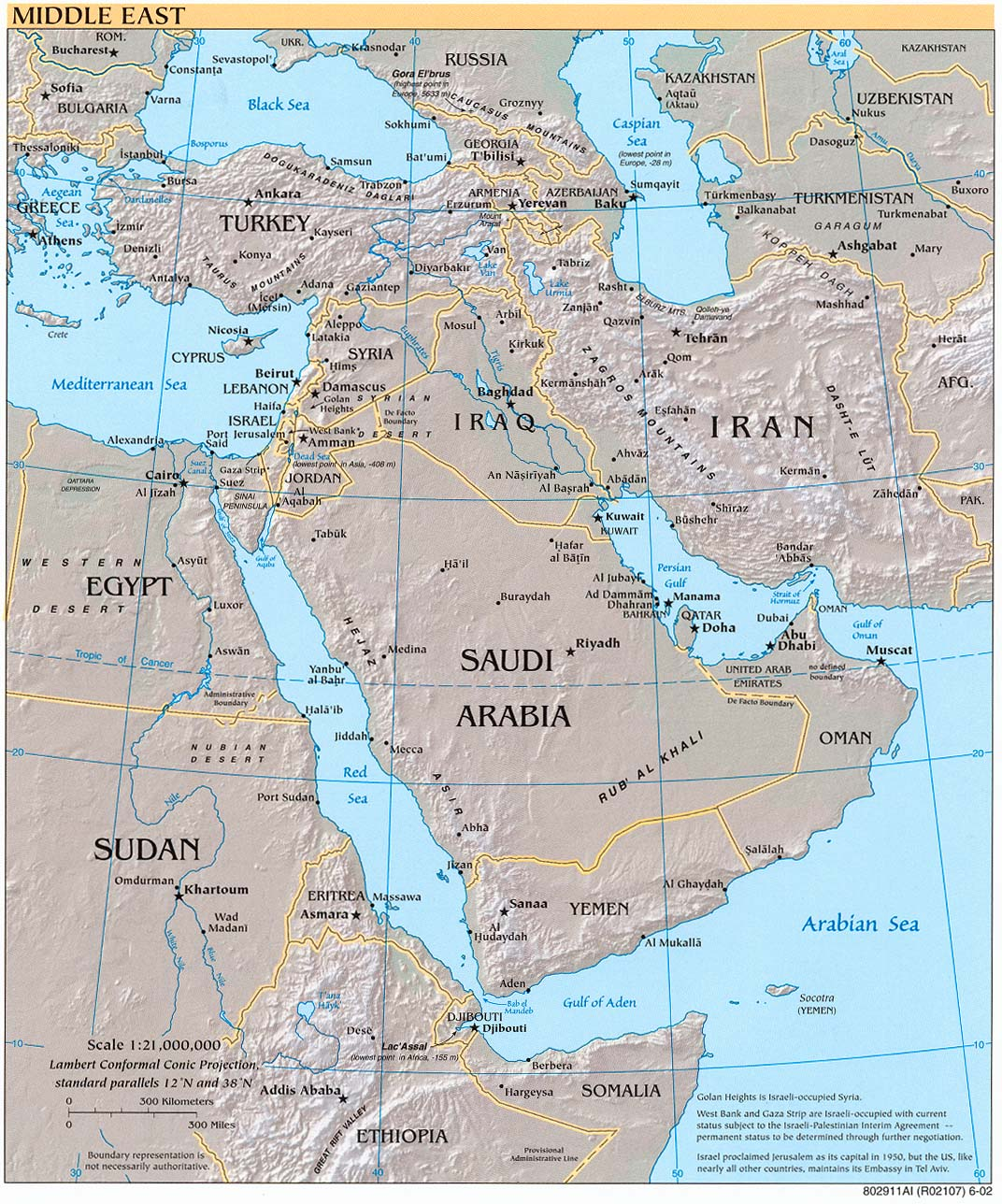 Middle East physical map 2002