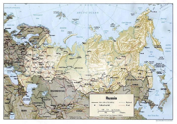 Mapa Físico de Rusia