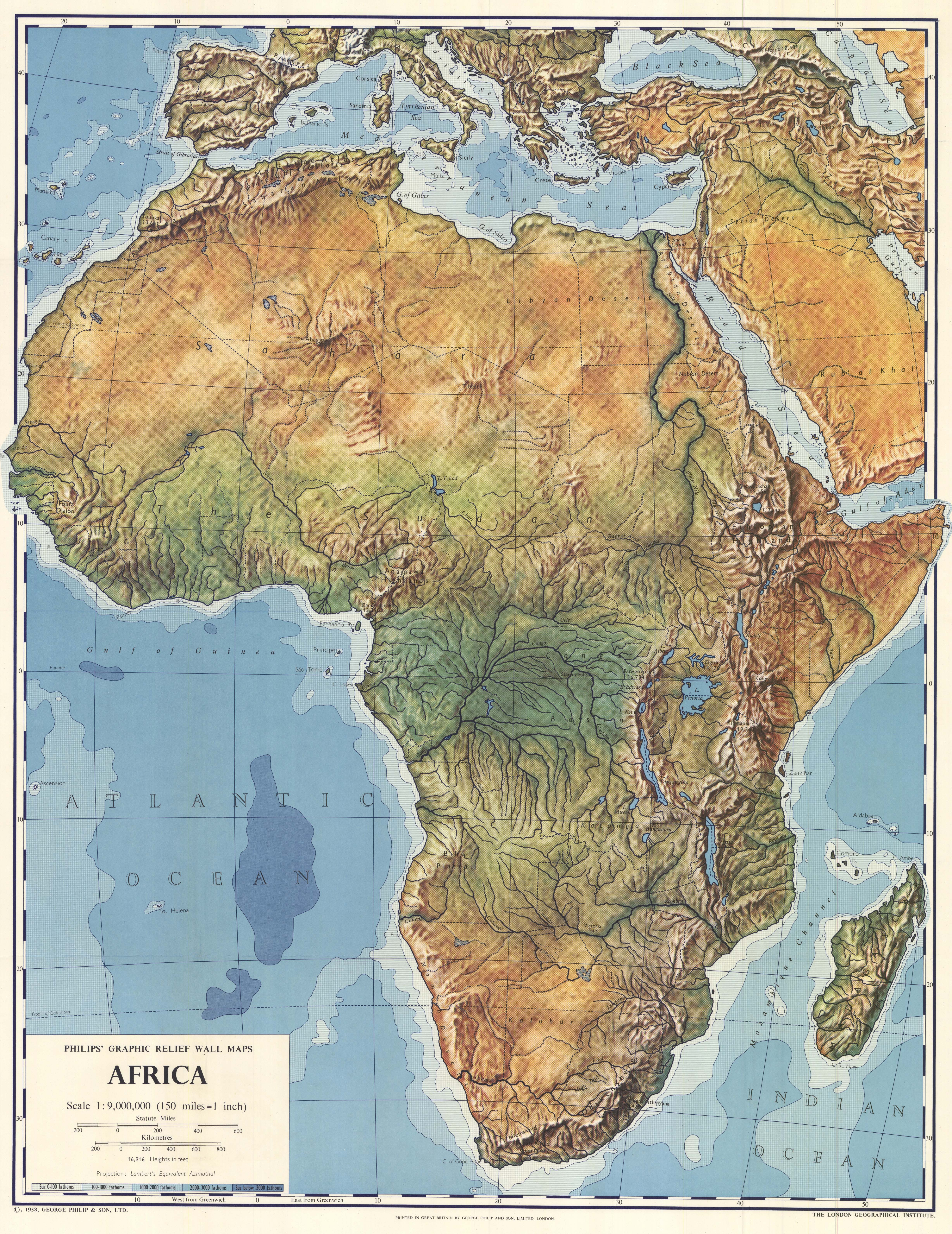 Picture of: Maps Of Africa Physical Map 1958 Mapa Owje Com