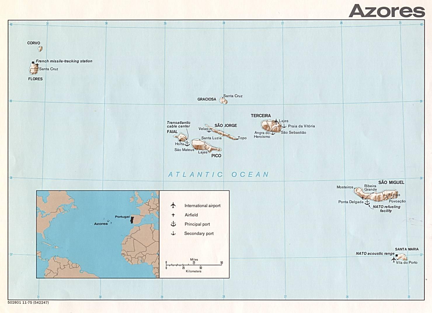 Mapa Físico de las Azores, Portugal