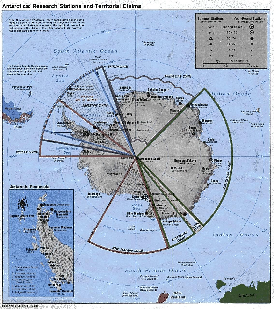 Mapa Físico de las Estaciones de Investigación y las Reivindicaciones Territoriales en Antarctica