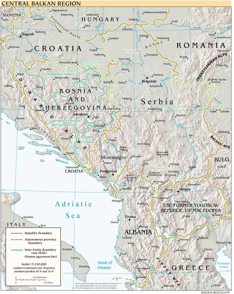 Mapa Físico de los Balcanes Occidental 1999