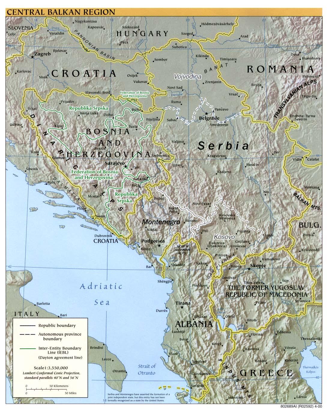 Mapa Físico de los Balcanes Occidental 2000