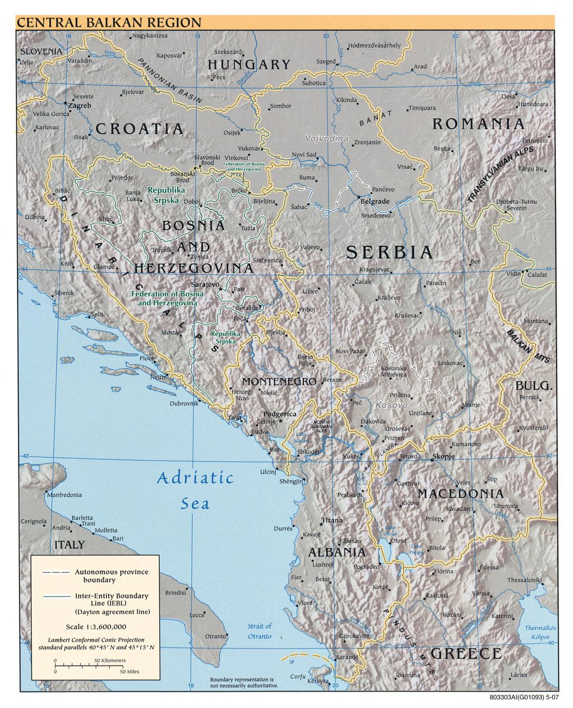 Mapa Físico de los Balcanes Occidental 2007