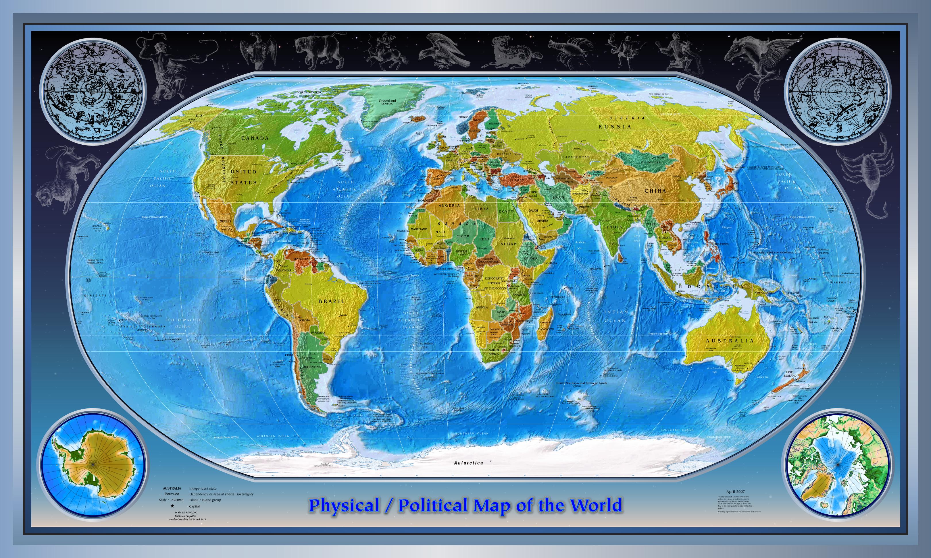 Mapa Físico del Mundo 2007
