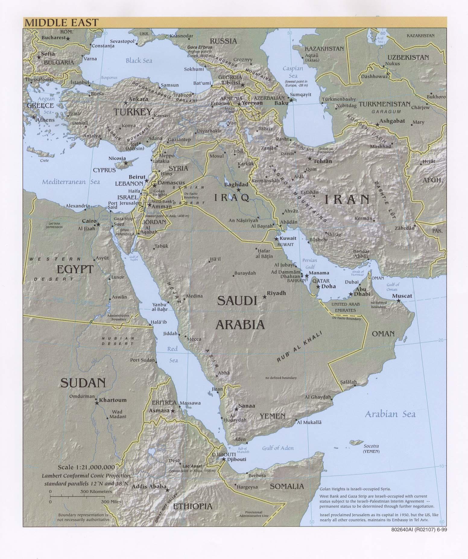 Mapa Físico del Oriente Medio 1999